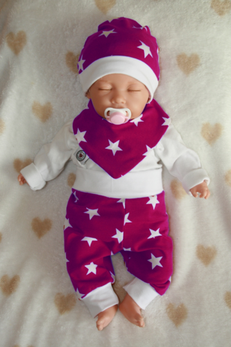 Baby-Set 3-parts stars burgundy - cap, neckerchief, pants