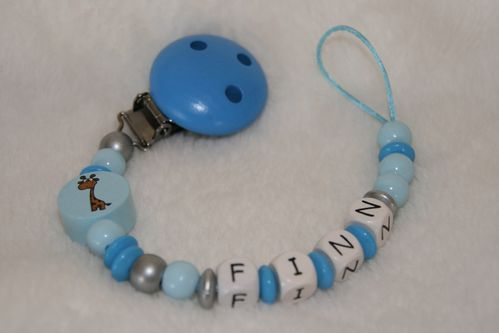 pacifier chain blue with name