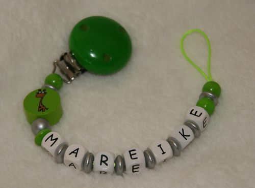 pacifier chain green with name