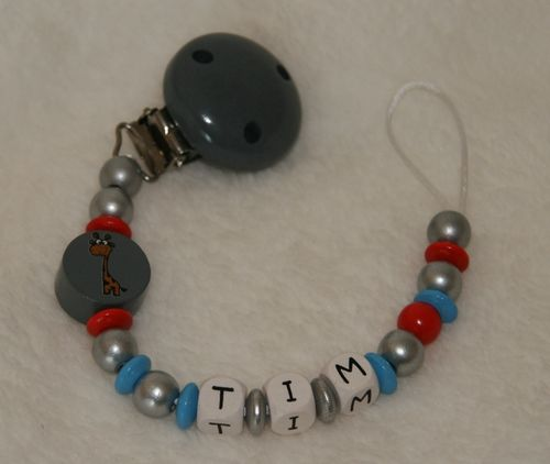 pacifier chain grey with name