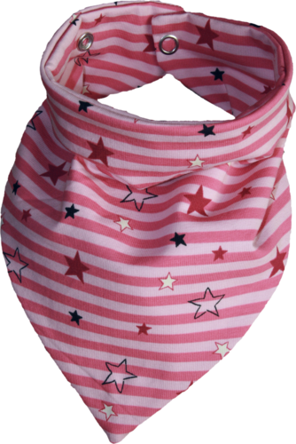Zahntuch tooth bandana stars with stripes pink